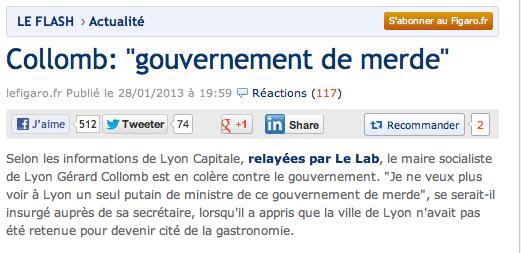 Collomb AFP gouvernement de merde 28-01-2013