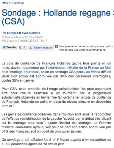 sondage europe 1 popularité Hollande 07-02-2013