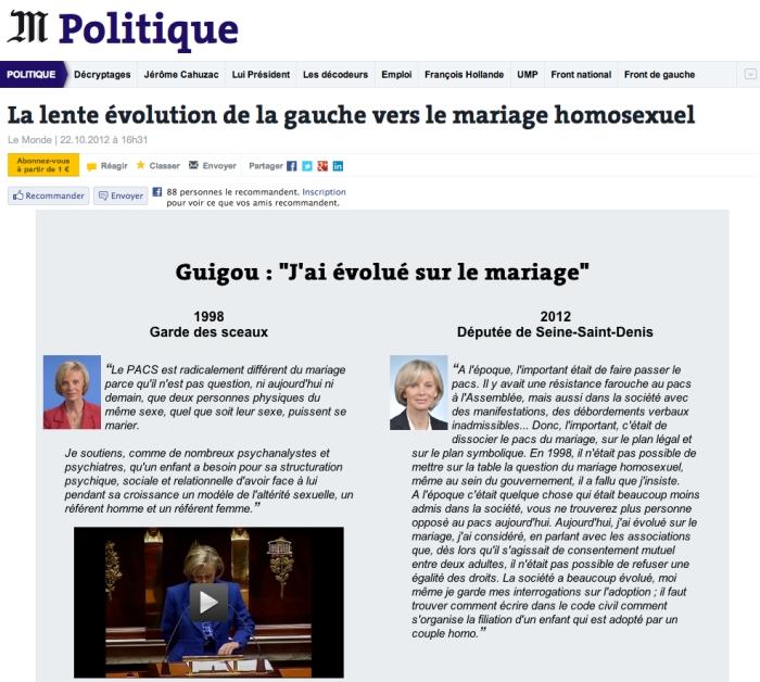 Elisabeth Guigou menteuse PACS mariage LeMonde 22.10.2012
