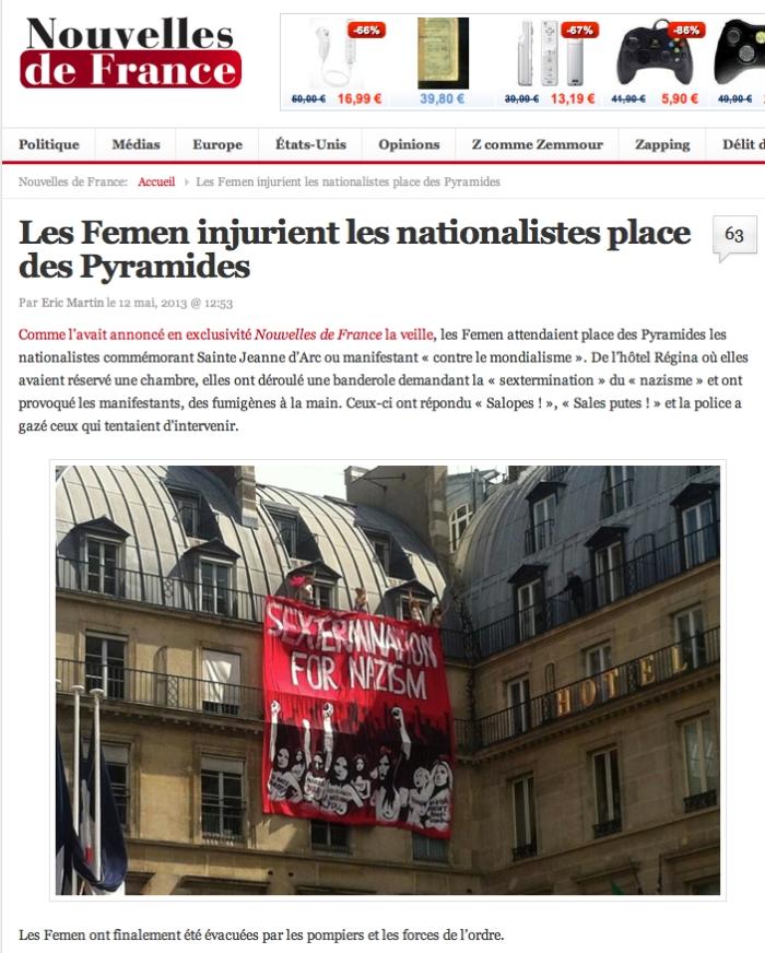 Femen vs Natios Jeanne d'Arc NDF 12-05-2013