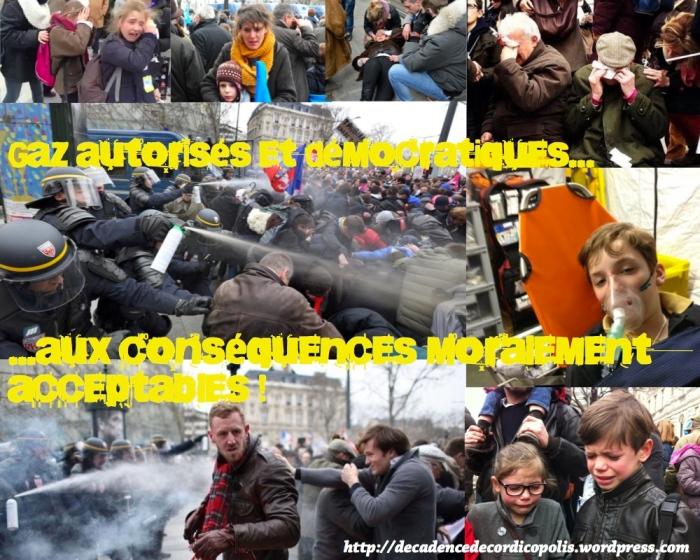 Montage Valls gaz manif