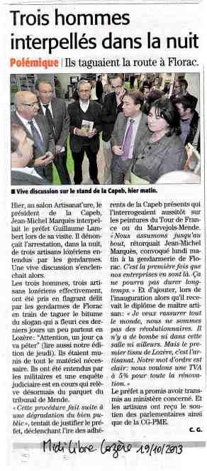 Ça va péter Midi Libre 19-10-2013
