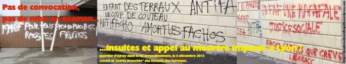 Graffitis Lyon appel au meurtre 06-12-2013