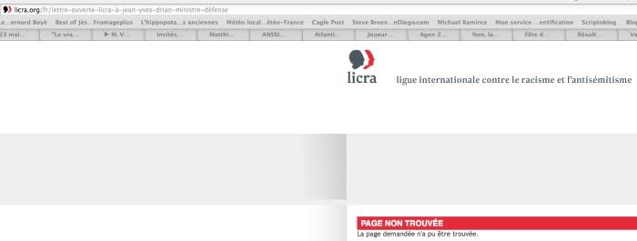 lettre LICRA introuvable