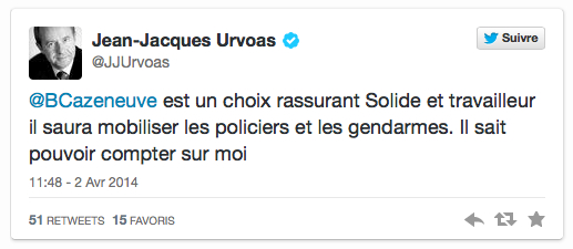 Urvoas tweet Cazeneuve avril 2014