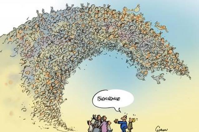 blog -migrants-Hollande bras ouverts a la deferlante-Chaunu-sept2015