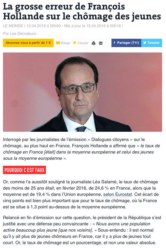 Le Monde 15-04-2016 chômage jeunes